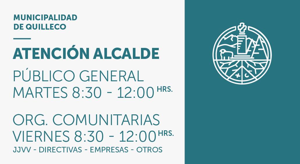 Horarios de atención de alcalde Jaime Quilodrán Acuña en Municipalidad de Quilleco.