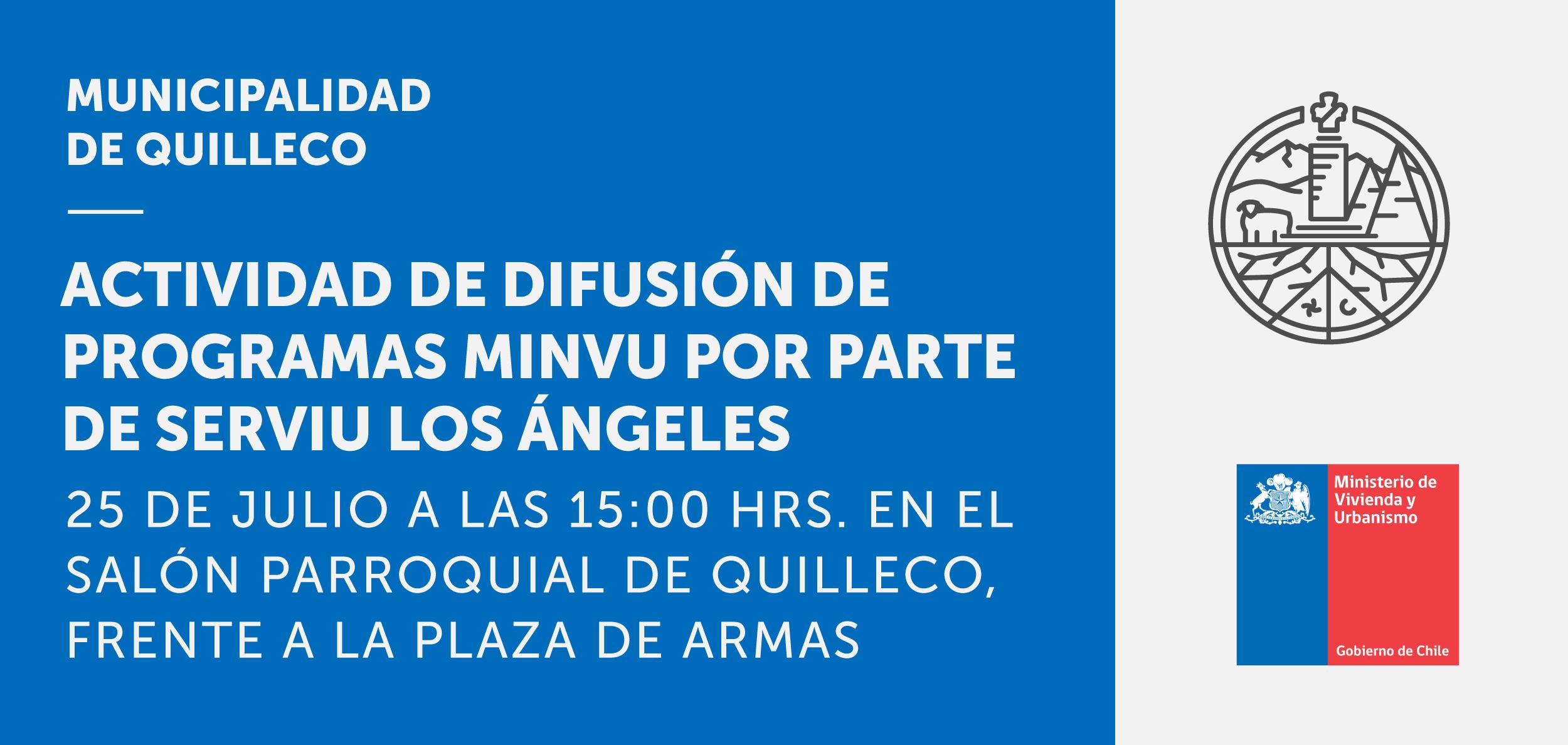 El próximo 25 de Julio SERVIU estará realizando difusión en nuestra comuna de los programas del Ministerio de Vivienda y Urbanismo