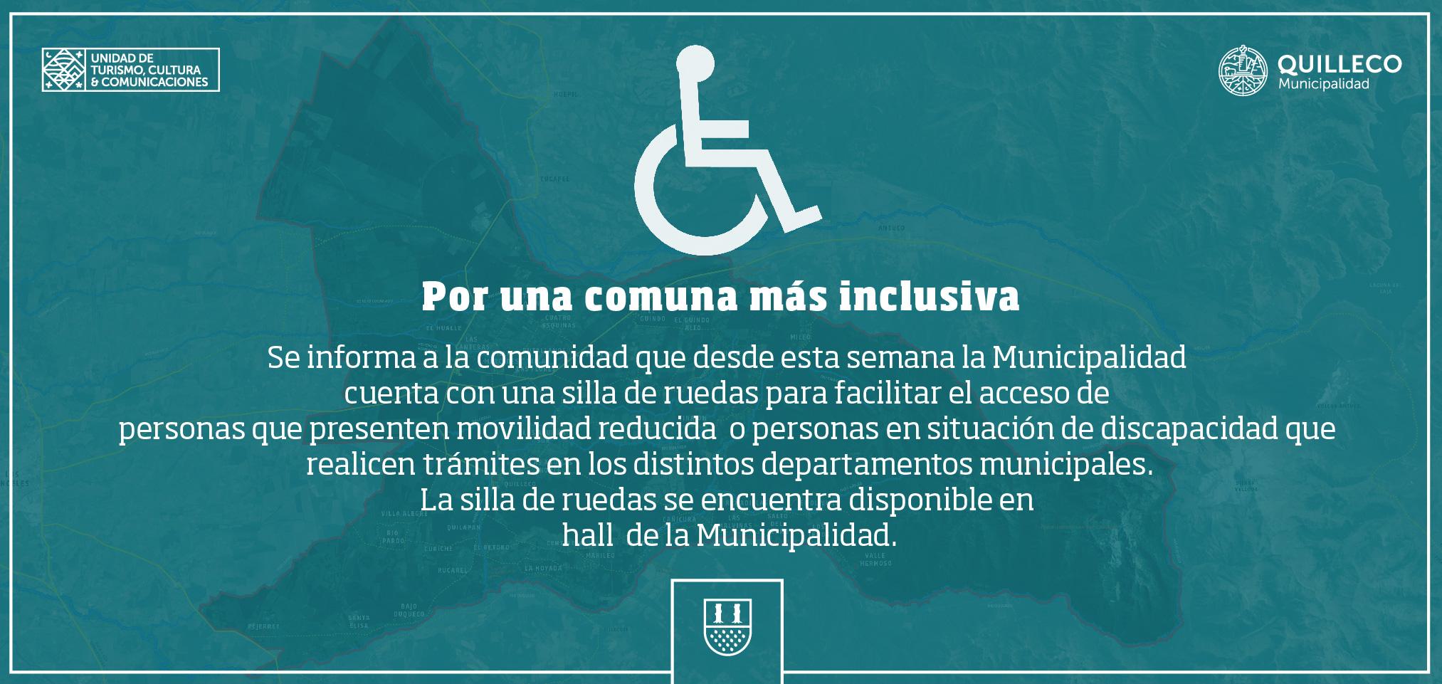 Personas con movilidad reducida o situación de discapacidad, contarán con silla de ruedas para sus trámites en oficinas de la Municipalidad de Quilleco