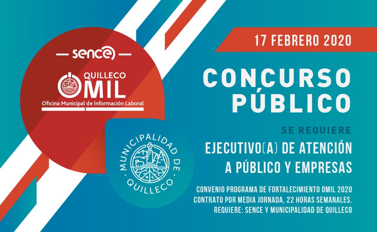 CONCURSO PÚBLICO: EJECUTIVO (A) DE ATENCIÓN A PÚBLICO, OMIL QUILLECO. FEBRERO 2020