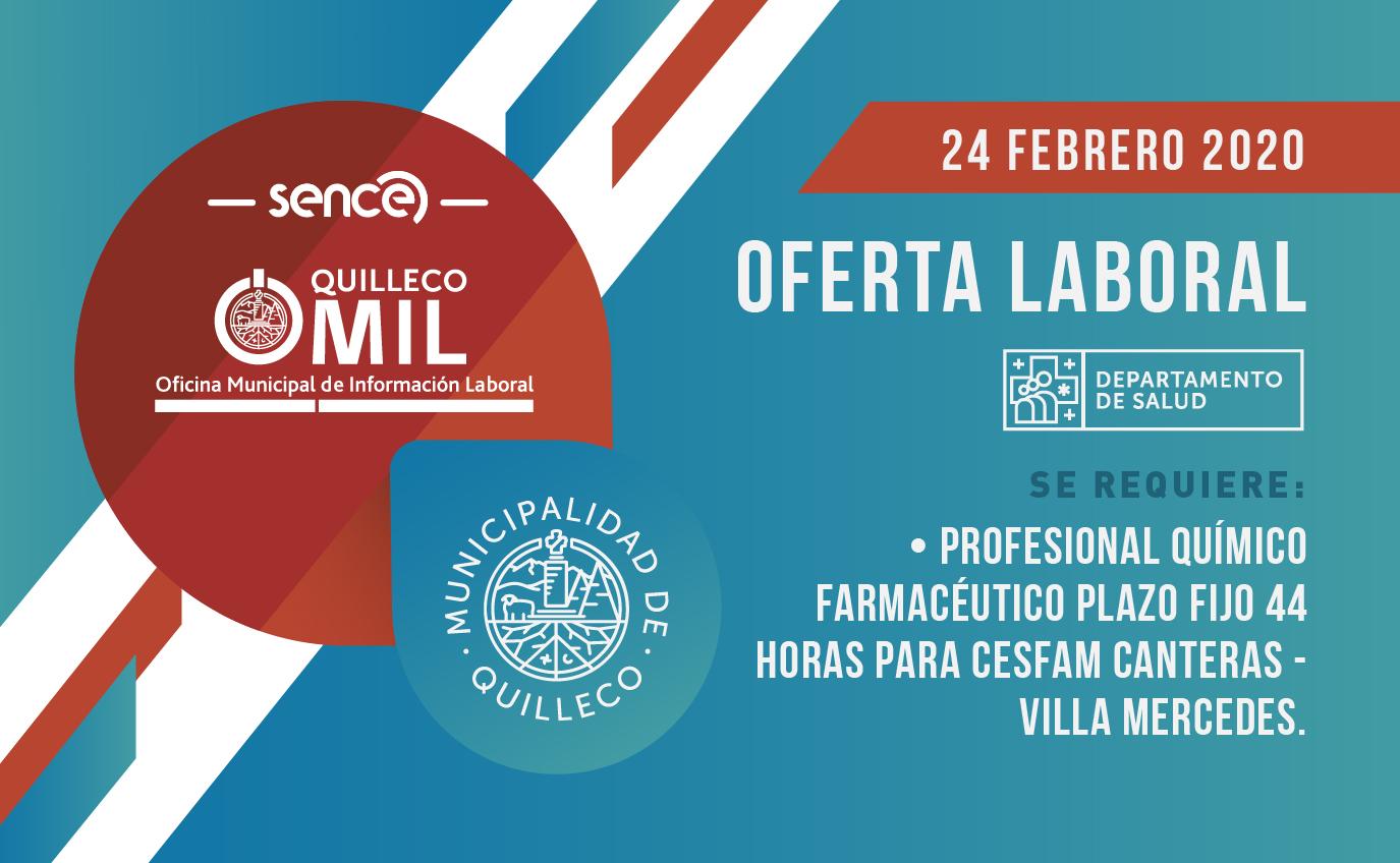 OFERTA LABORAL – DEPARTAMENTO DE SALUD, MUNICIPALIDAD DE QUILLECO. 24 FEBRERO 2020