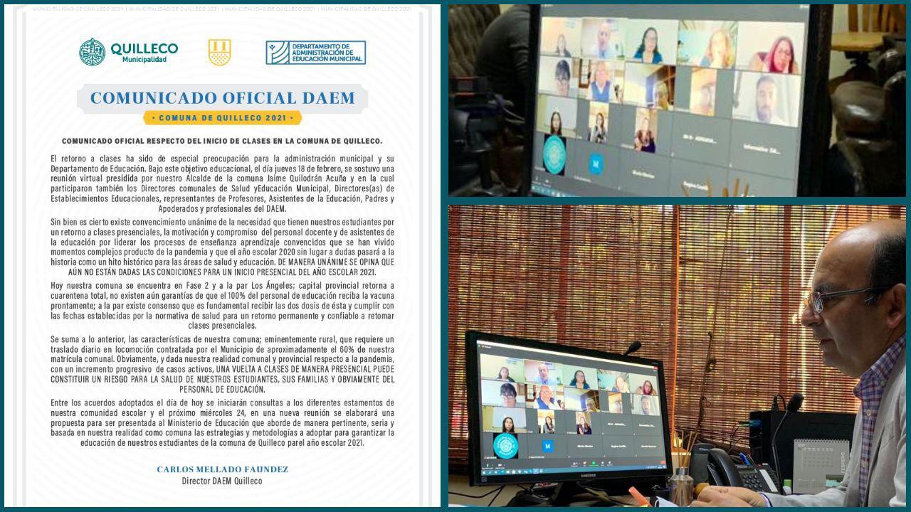 COMUNICADO OFICIAL RESPECTO DEL INICIO DE CLASES EN LA COMUNA DE QUILLECO. ALCALDE PRESIDE REUNIÓN CON DIRECTIVOS DE SALUD Y EDUCACIÓN, DIRECTORES DE ESTABLECIMIENTOS EDUCACIONALES, PROFESORES, ASISTENTES DE LA EDUCACIÓN, PADRES Y APODERADOS Y PROFESIONALES DEL DAEM.