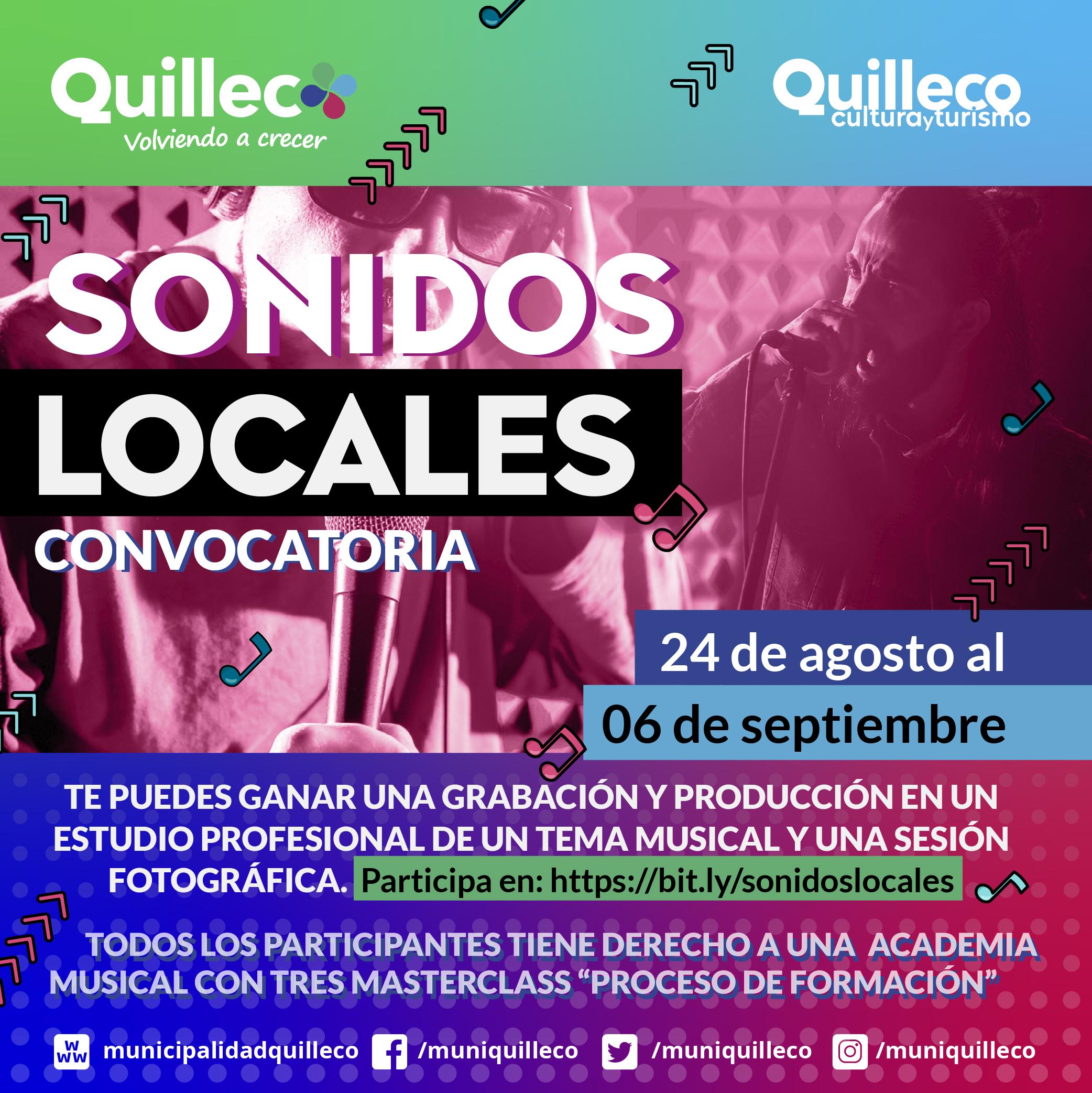 """CONVOCATORIA PARA ARTISTAS DE QUILLECO """"SONIDOS LOCALES"""""""
